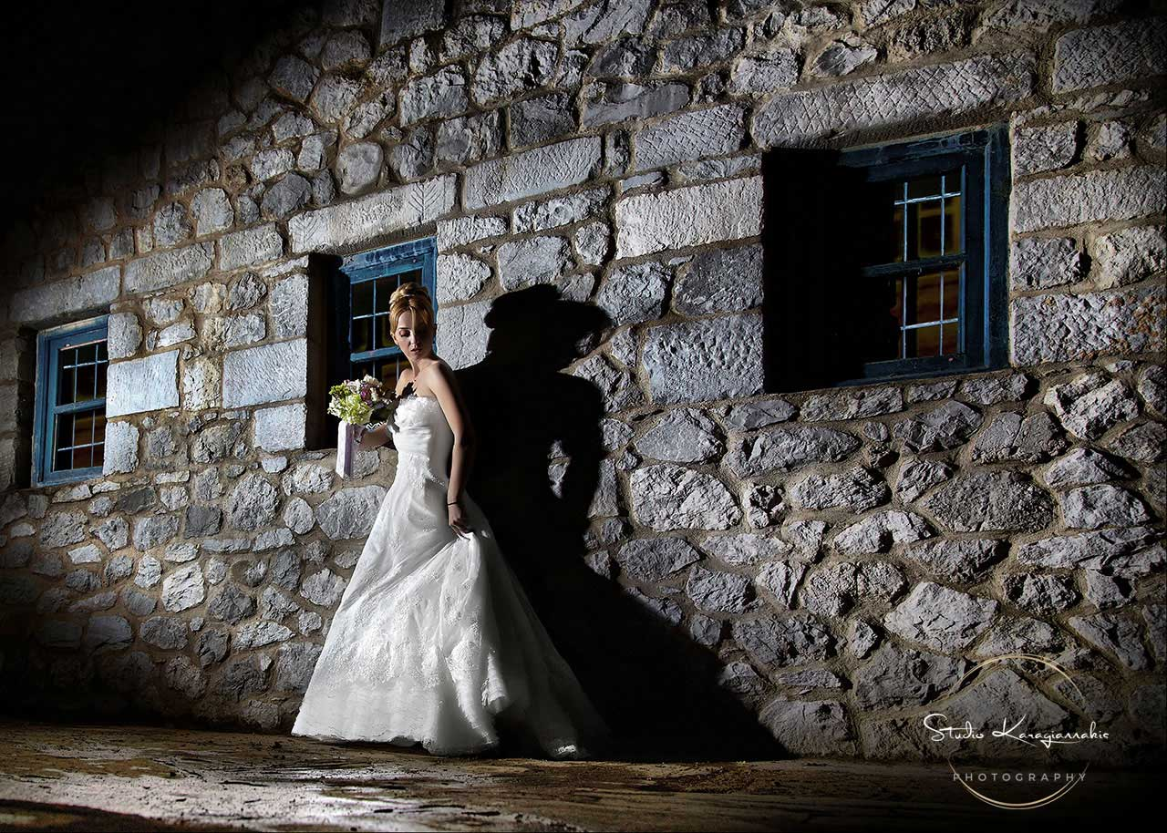 Bride outside house in night